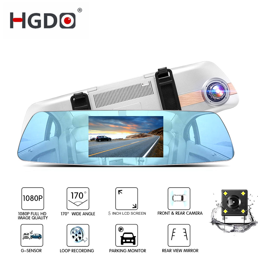 HGDO DVR Auto Rearview-Mirror Car-Recorder Dash-Cam Touch-Screen Dual-Lens Night-Vision