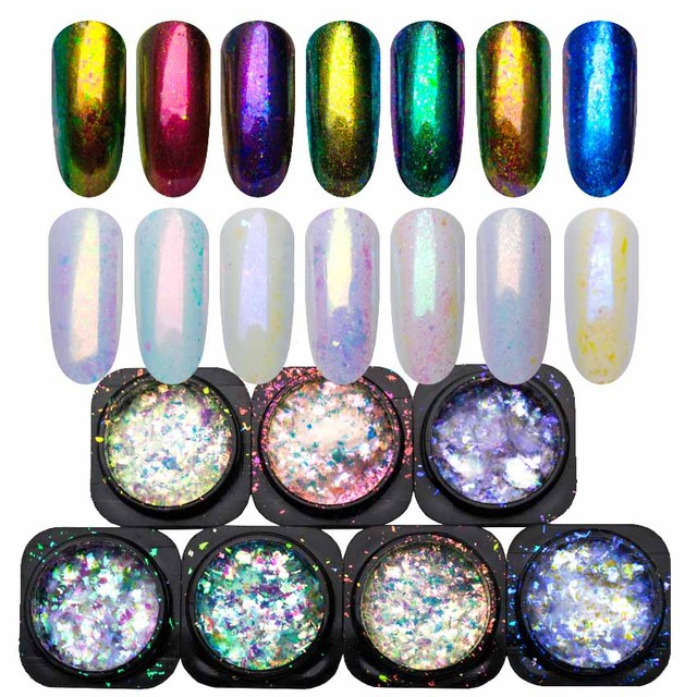 Yucca Flakes for Nails Glitter Powder Paillette Chameleon Nail Flakes Yuki Mirror Power Nail Design Sequins for Nails SF3043