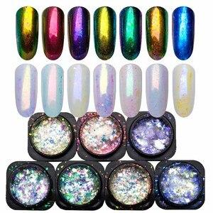 Image 1 - Yucca pul tırnak Glitter toz madeni pul bukalemun tırnak gevreği Yuki ayna güç tırnak tasarım Sequins çivi için SF3043
