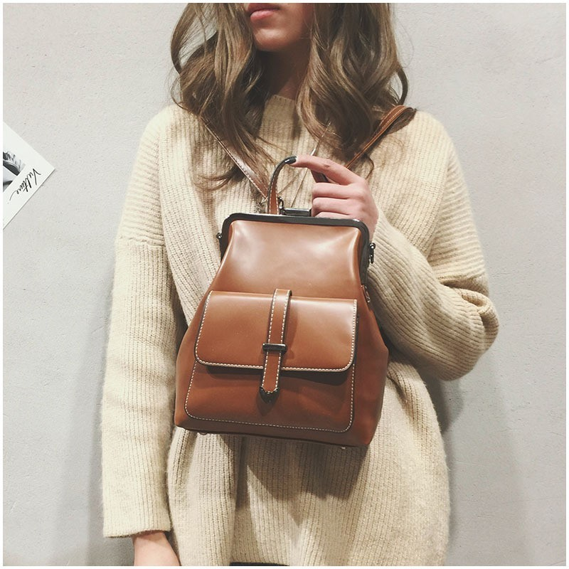 Vintage Hasp Leather Female Women School Bags For Teenagers Girls Luxury Small Backpacks Retro Sac A Dos Bagpack