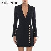 CHICEVER Autumn Blazer Dress For Women V Neck Long Sleeve High Waist Slim Black Bodycon Dresses Female Fashion Elegant Clothes