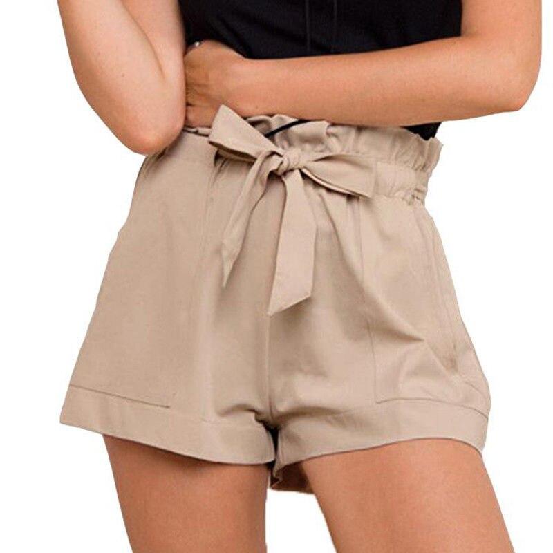 Women Ladies Summer Casual Shorts Beach High Waist Tie Belt Short Fashion Pocket Shorts Women Solid Cotton Shorts Black White