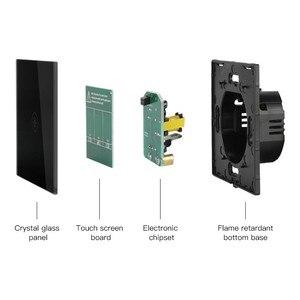 Image 5 - Interruptor de toque de parede ligh padrão ue, interruptores de sensor de energia branco preto, ouro, vidro de cristal 1 2 3 gang 1 way do makerele