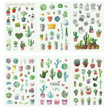 6papers/set Cactus Plant Diary Stickers Transparent Vintage Stamps Korean Cute Journal Scrapbooking Stationery Sticker Supplies