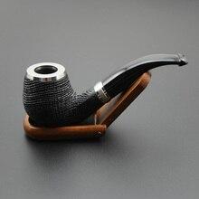 16 araçları el yapımı doğa meşe ahşap tütün sigara boru kase ahşap halka bükülmüş tip boru + kılıfı + standı + 9mm boru filtreleri XB506