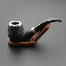 16 narzędzi Handmade natura drewno dębowe fajka tytoniowa miska drewniany pierścień wygięty model rura + etui + stojak + 9mm filtry rurowe XB506