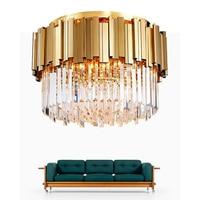 Rodada moderno luz de teto de Cristal Para Sala de estar do quarto de Aço Inoxidável de Ouro de Luxo luz AC 110 V 220 V Luzes de teto     -