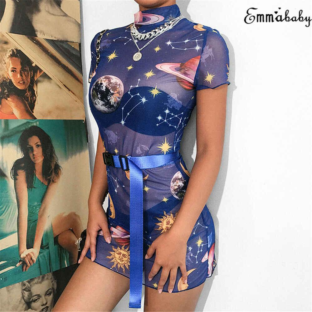 Sexy Zomer 2019 Merk Nieuwe Vrouwen Star Planet Print See Through Mesh Bodycon Korte Mouwen Party Clubwear Mini Skinny Potlood jurk