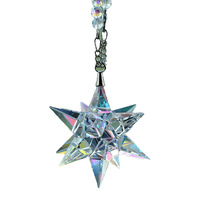 Novel Crystal Glass Shooting Star Crafts Vehicle Car Crystal Ornament with Beads Chain Christmas Gift DEC483