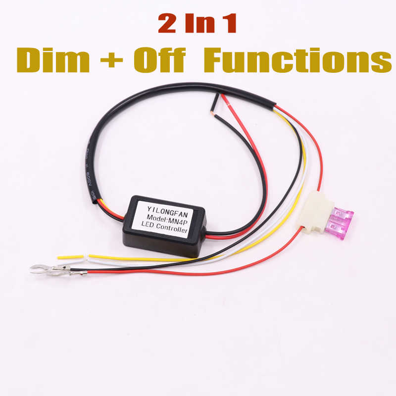 1pcs Car AUTO LED Daytime Running Light Relay Harness DRL ControllerโมดูลAUTO ON/OFF Dimmer 12-18V LIGHT CONTROLLER