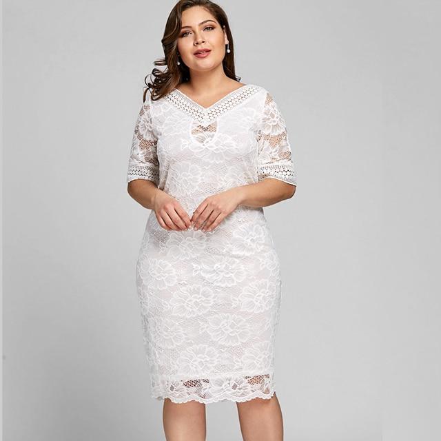 Wipalo Women Summer Elegant Plus Size V Neck Half Sleeve Lace Bodycon Dress  Casual Party Midi Dress 2018 Fashion Big Size 5XL c42bc6ebb66f