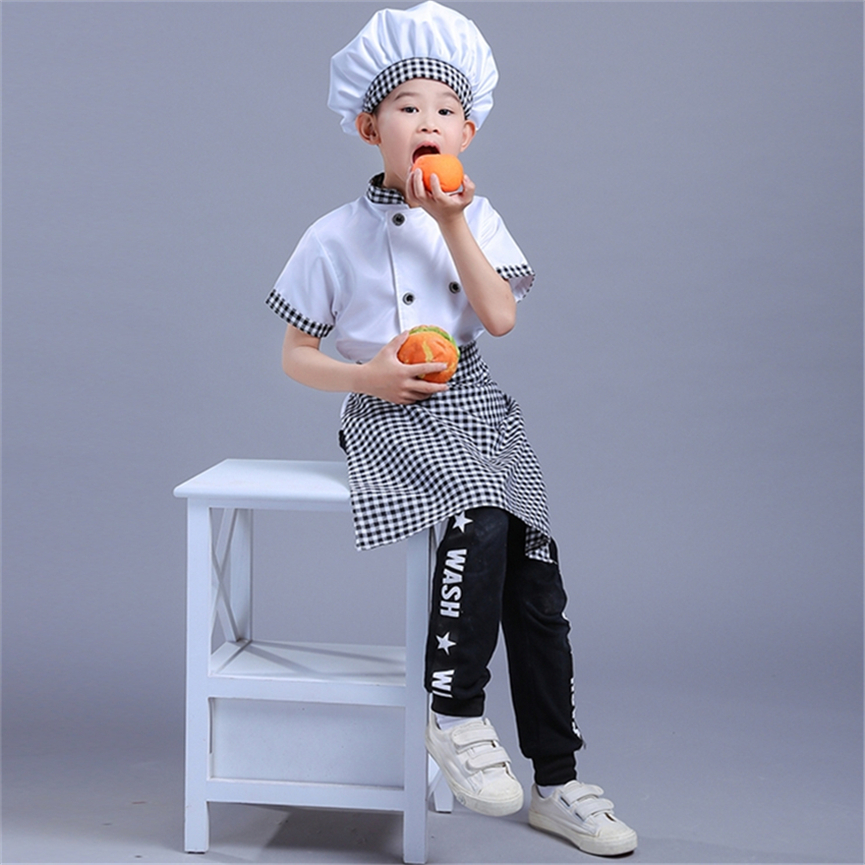 Children Chef Party Costumes Kids Work Cosplay Culinary Competition Jacket Apron Hat Set Kitchen Boys Girls Cook's Uniforms Set