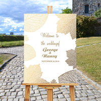 Welcome To Our Wedding Sign,Wooden Welcome Wedding Sign,Maple Leaf Rustic Wedding Party Entrance Sign,Personalized Name Date