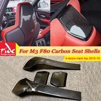 For BMW M3 F80 Seat Shells Cover 4 doors Hard top Sedan M3 Carbon Fiber 4pcs Seat Shells Interior Trim Back 420i 430i 435i 2015+