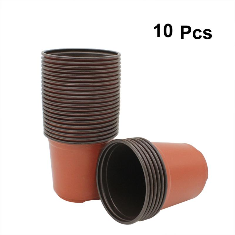 10PCS Plant Flower Pots Plastic Starting Two-tone Universal Soft Flowers Nursery Seeds Storage Pots Container Garden Supplies