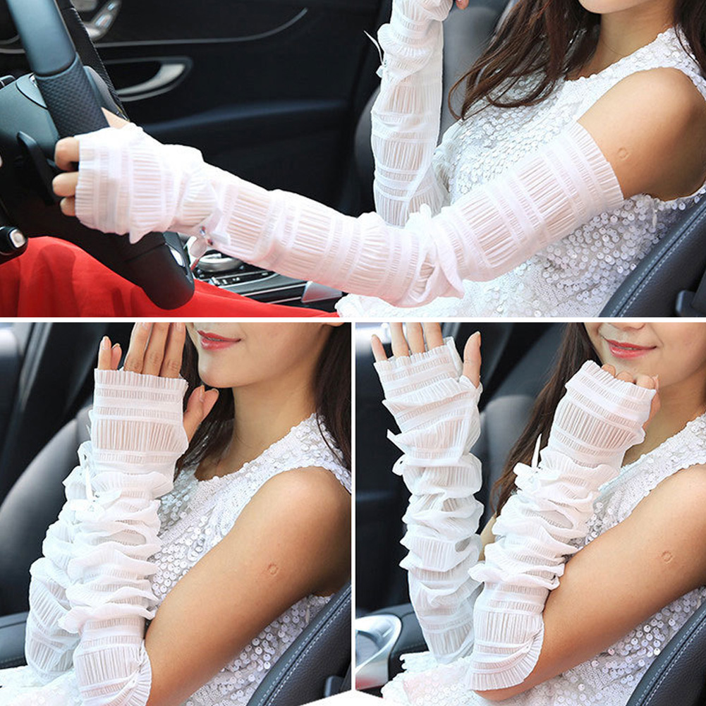 Lace Bow Pearl Long Fingerless Sleeves Sun Gloves Arm Breathable Sunscreen Driving Arm Sleeve Ladies Lace Arm Warmers