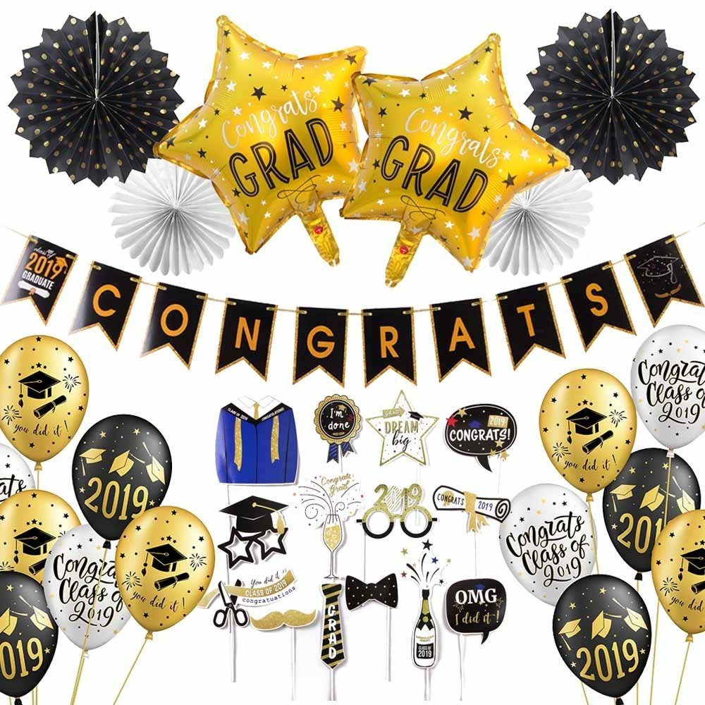 Graduation 2019 With Latex Balloons Hanging Congrats Banner Photo Booth Props Graduation Party Decorations Favors