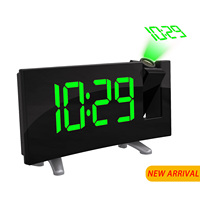 Digital Projector Radio Alarm Clock Snooze Timer LED Display Wide Curved Screen USB Charge 180 Degree Table Wall FM Radio Clock