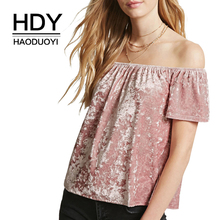 HDY Haoduoyi New Sweet Women Clothes Solid Casual Off Shoulder Tops Short Sleeve Shirts Ruffles