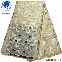 BEAUTIFICAL embroidered organza lace gold sequin lace fabric with beads african lace fabric materials 5yards/lot on sales ML4O89