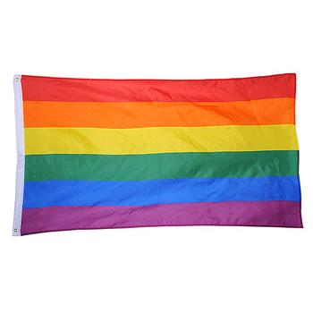 90*60cm Rainbow Flag 1pc Lesbian Gay Parade Banners LGBT Friendly Banners Pro Lesbian Pride LGBT Polyester Colorful