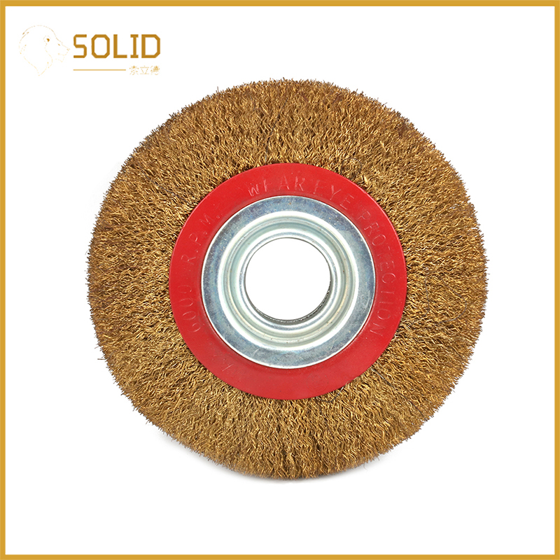 6 Inch Stainless Steel Wire Brush Wheel Bore 1-1/4 Inch For Electric Striping Machine Polishing Deburring Wood