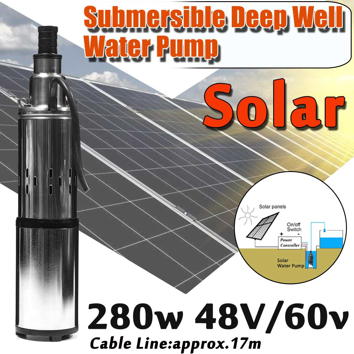 Solar Water Pump 48V/60V 280W 16L/Min 40M Deep Well Submersible Water Pump for Irrigation Garden Engineering