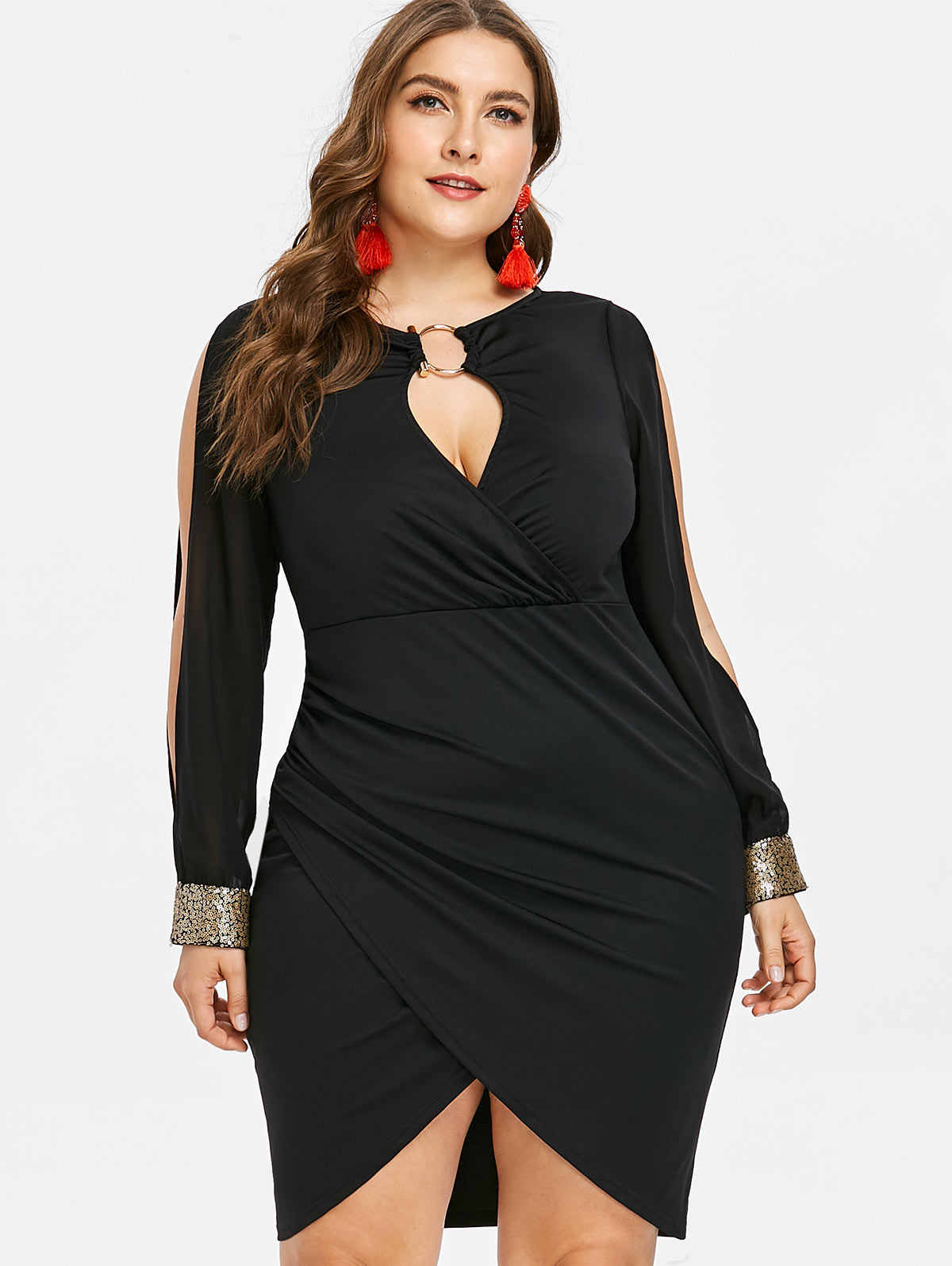 Wipalo Slit Sleeve Plus Size O-Ring Sequin Embellished Bodycon Dress  Elegant Solid Slip Front Mini Party Dress 5XL Fall Vestidos