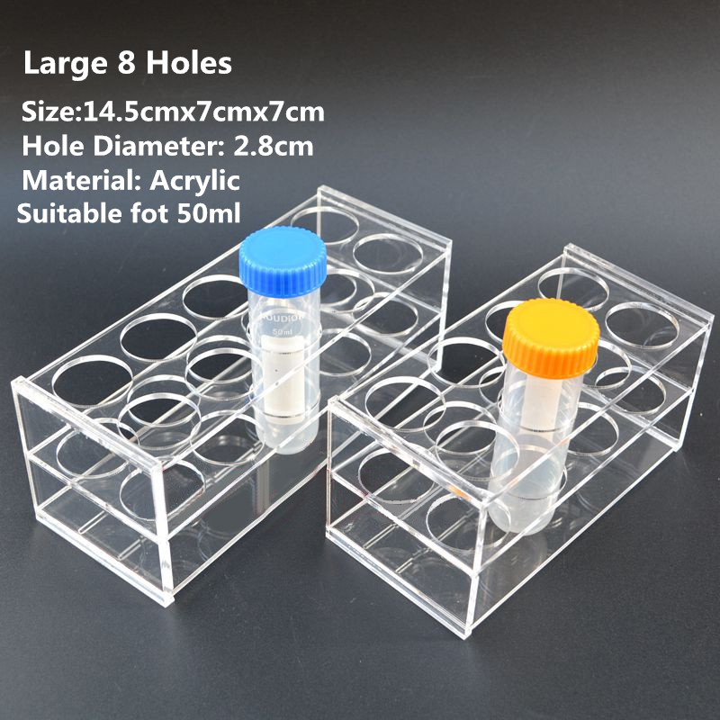 2pcs Plastic Laboratory Test Tube Rack 8 Holes Testing Tubes Holder Storage Stand Shelf Lab School Supplies 145*70*70mm