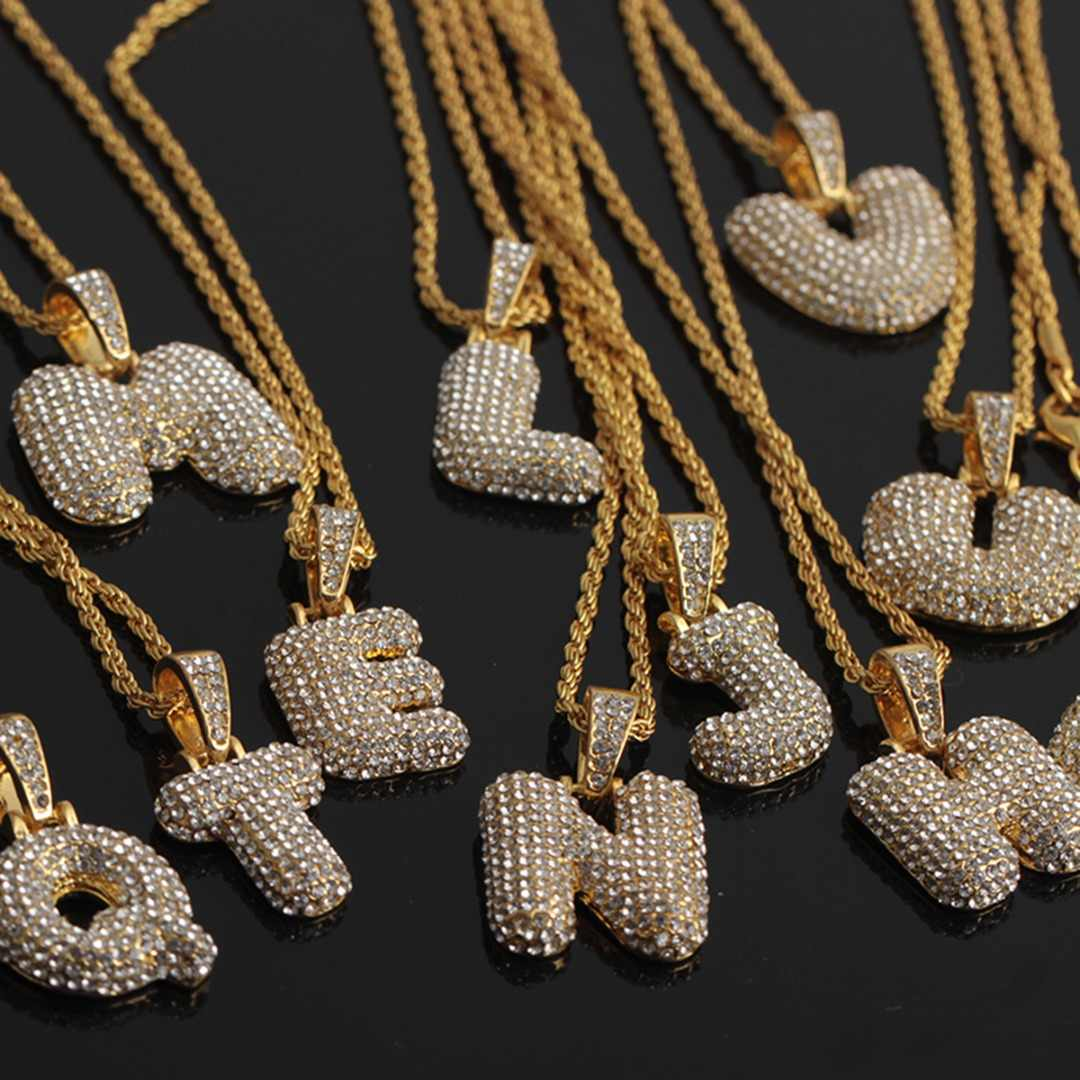 Shellhard CZ Zirconia Crystal 26 A-Z Letters Pendant Necklace for Men Punk Initials Name Necklace Fashion Men Hip Hop Jewelry