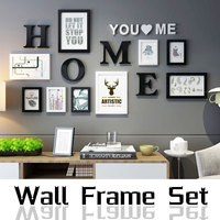 9 pcs/set Wall Family Wooden Picture Frame Sets Europe Style Black White Vintage Photo Frame Round Picture Frames For Paintings