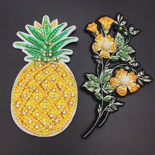 Heavy embroidery hand-stitched pineapple cloth stickers Embroidered beaded clothing dress diy decorative accessories