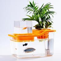 Mini fish tank Mini Aquarium Fish Tank Fish Vegetables Symbiotic Desktop Office and Home Decoration