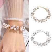 Pulseras de perlas de imitación de cristal de encanto para pulseras a la moda para Mujer y colgantes pulseras Mujer joyería regalo de San Valentín