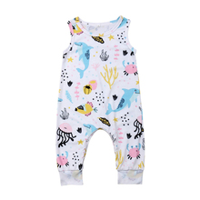 Pudcoco Summer Newborn Toddler Baby Kids Boy Girl Unisex Clothes Sleeveless Cute Dolphin Printing Romper Jumpsuit 2019