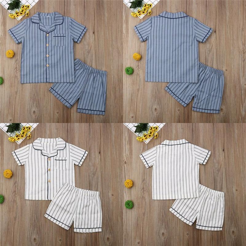 PUDCOCO Newest Kid Boys Summer Cotton Striped   Pajamas   Homewear Children Loungewear Sleepwear   Sets   Nightgown 2-7T