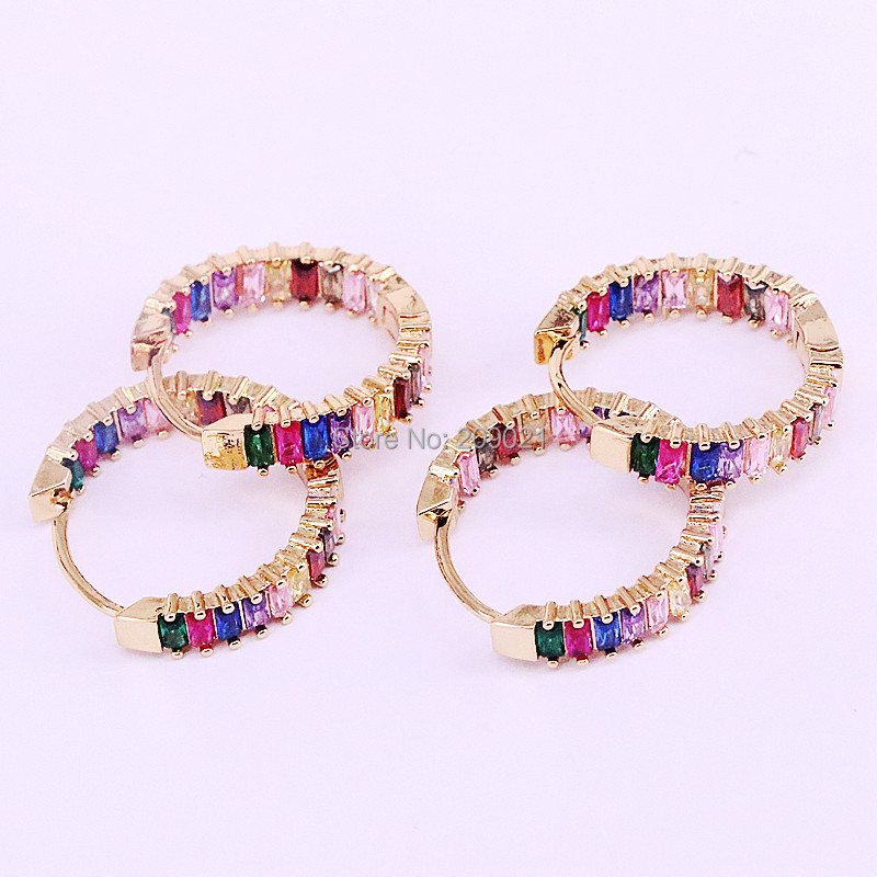 New Arrival 5Pairs Rainbow CZ Round Shaped Earrings Women Trendy Sparkling Zircon Micro Paved Hoop Earrings