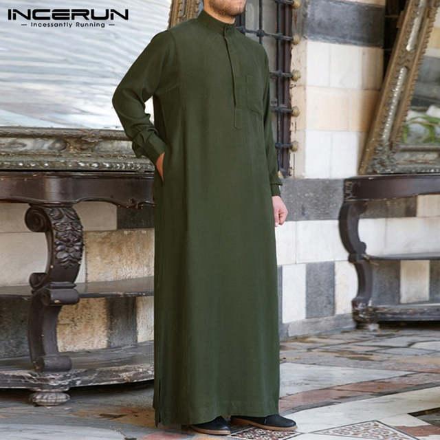Fashion Muslim Clothing Thobe Jubba Mens Robe Long Sleeve Saudi Arab Thobe  Kaftan Ropa Arabe Islamic Thobe Indian Dress Robe