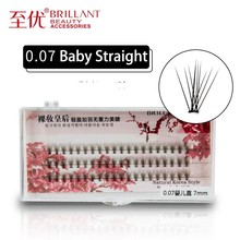 BRILLANT Premade Fan Self-Grafting False Eyelashes Baby Straight Hairing Hair 10 pieces 0.07 Thick Soft Planting