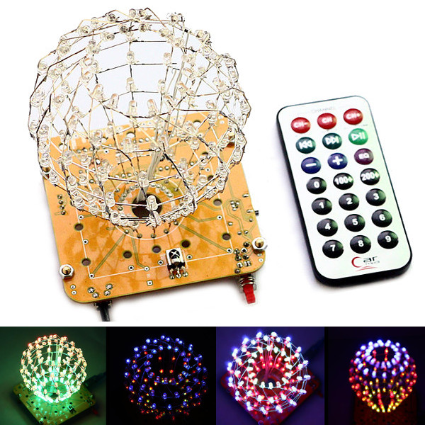 Claite Diy Colored Ball 3d Led Light Cube Kit 16x9 Advertising Light Led Music Spectrum Diy Electronic Kit For Friends Gift Durable In Use Advertising Lights Commercial Lighting