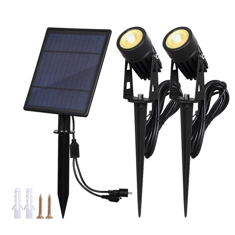 Waterproof Ip65 Outdoor Garden Led Solar Light Super Brightness Garden Lawn Lamp Landscape Spotlights(Warm White)