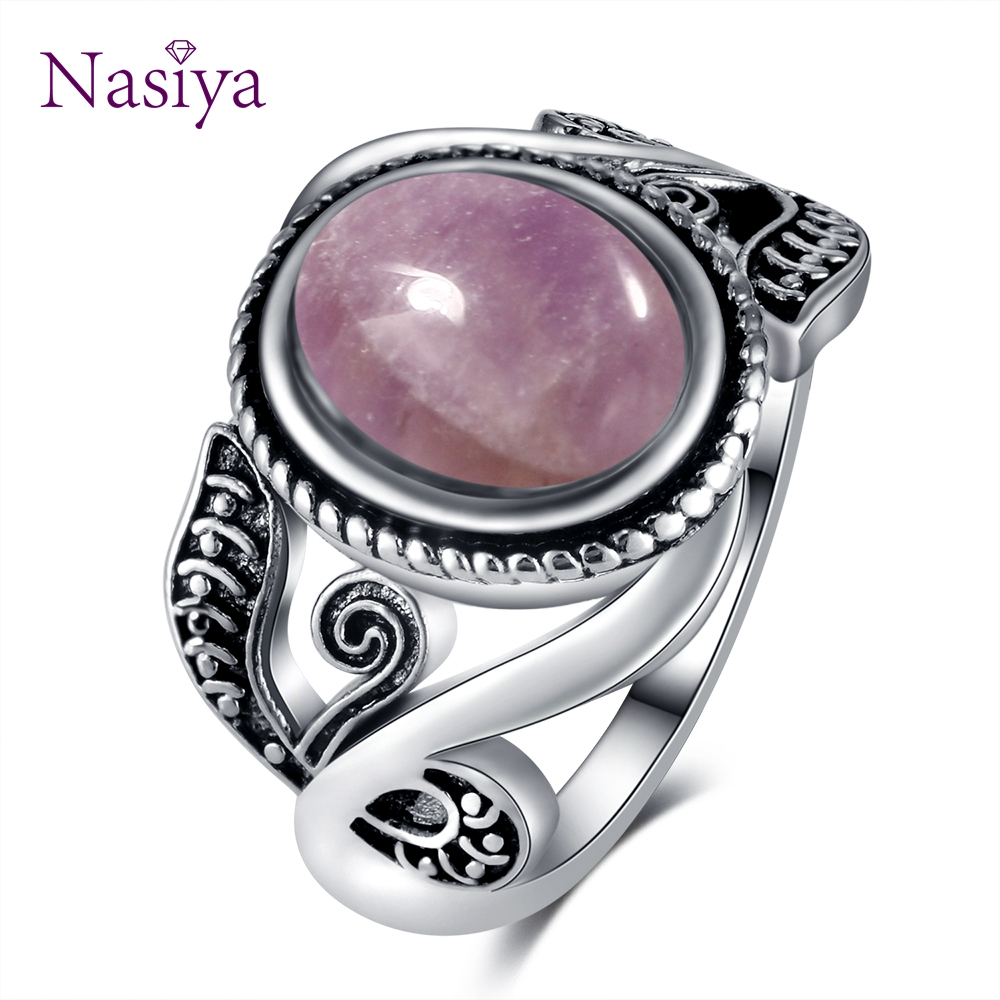 Nasiya Vintage Finger Rings For Women 925 Silver Jewelry 8x10MM Oval Light Purple Created Amethyst Rings Wholesale Party Gift