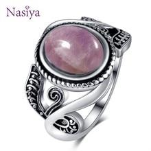 Nasiya-Anillo de plata de primera ley y amatista para mujer, sortija, plata esterlina 925, 8x10MM, Estilo Vintage, ovalado, morado claro, fiesta