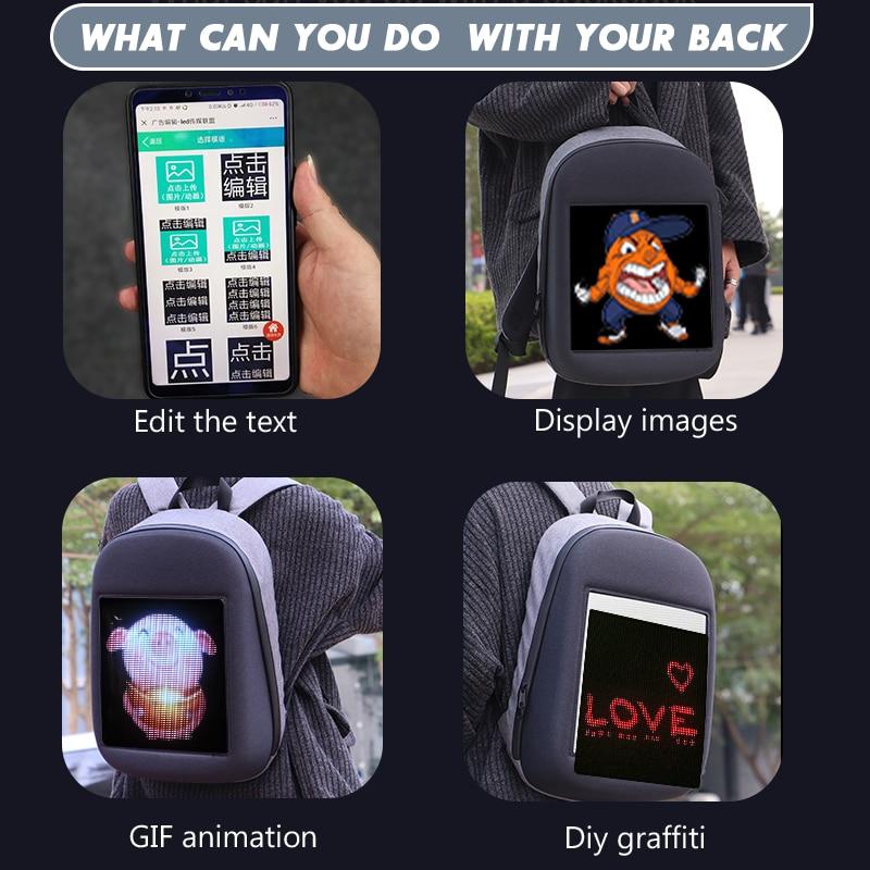 Écran LED dynamique publicité sac à dos bricolage wifi LED ville marche publicité sac pour ordinateur portable lumière - 3