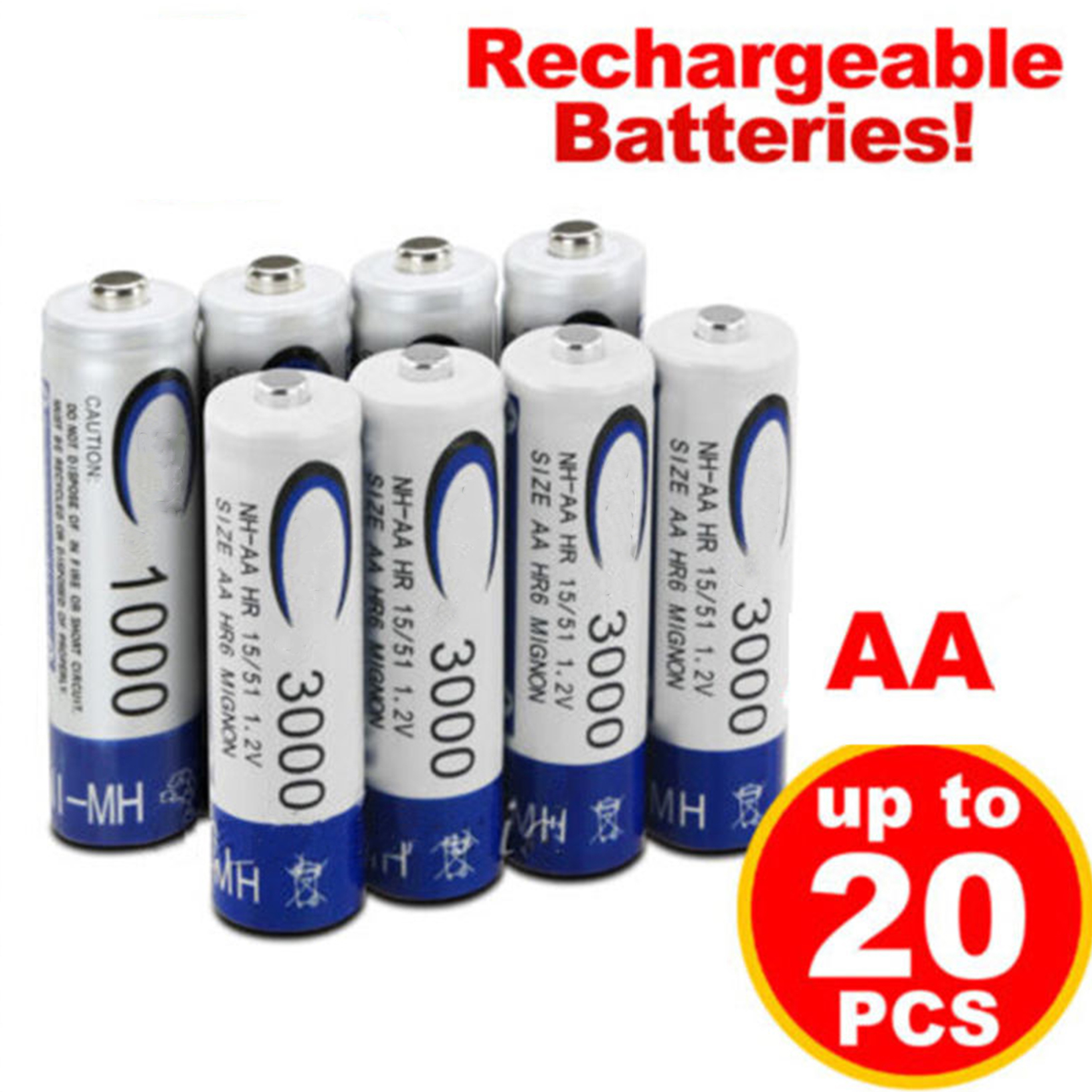 2019 New Brand AA 3000mah AAA 1000mAh Rechargeable Battery NI-MH 1.2V Rechargeable Battery For Led Light Toy Mp3 Free Shipping