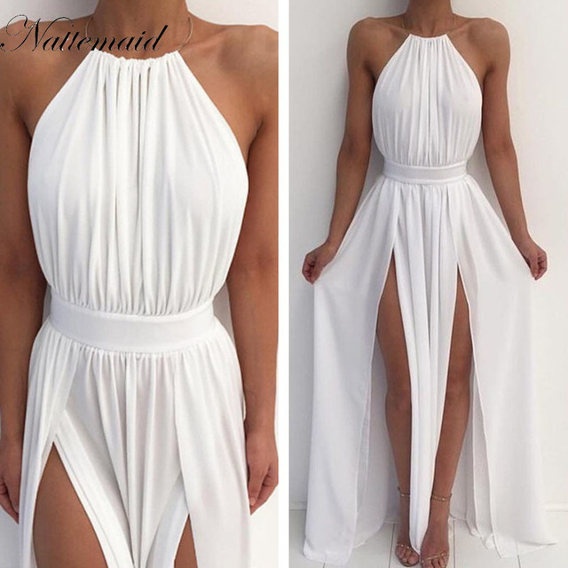 NATTEMAID Women Chiffon Hater neck  Maxi Dress Red Beach Boho Long Dress White Bridesmaids Floor length Split Party Dresses Robe