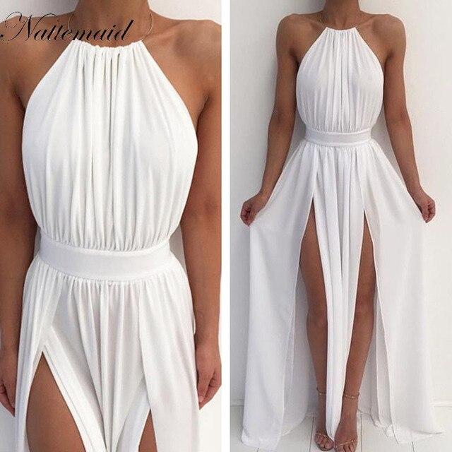 d3a87bd0348 NATTEMAID Women Off Shoulder Chiffon White Dress Summer Red Beach Boho Maxi  Long Dress Elegant Bridesmaid