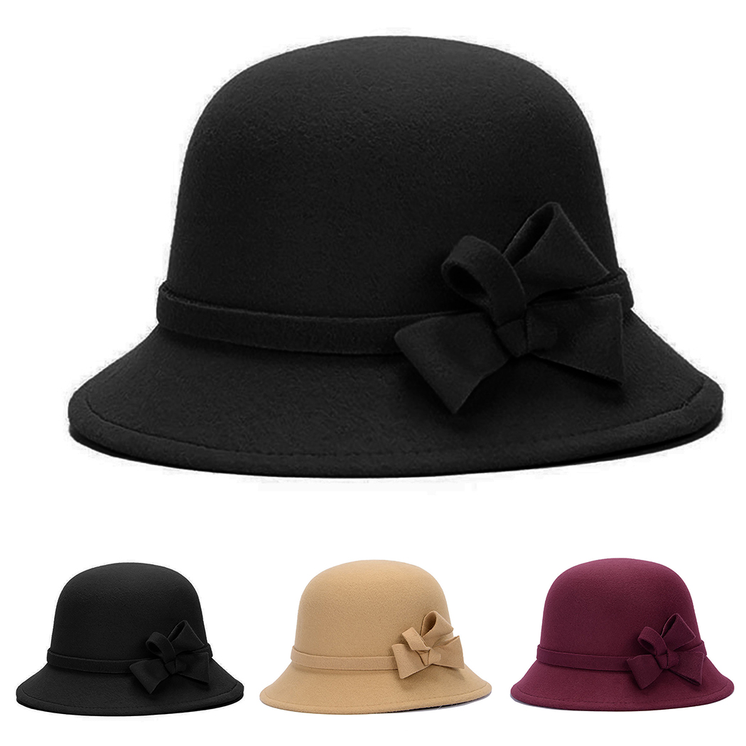 4af76d340 US $5.94 21% OFF|Elegant Women Round Bowler Cap Imitation Wool Bowknot  Fedoras Cotton Church Cloche Bucket Hat Vintage Brim Chapeu Feminino-in  Women's ...