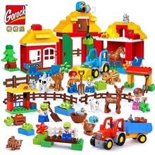 цены GOROCK Big Size DIY Happy Farm Happy Zoo With Animals Set Duplo Blocks Bricks Educational Kids Toys For Children birthday gifts