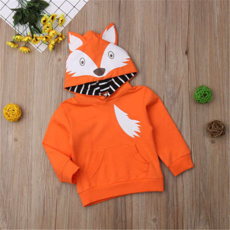 CANIS  Winter Warm Newborn Kids Baby Boys Girls Hoodie Cartoon Fox Hooded Tops Sweatshirt Outwear Sweatsuit Clothing Boy Girl